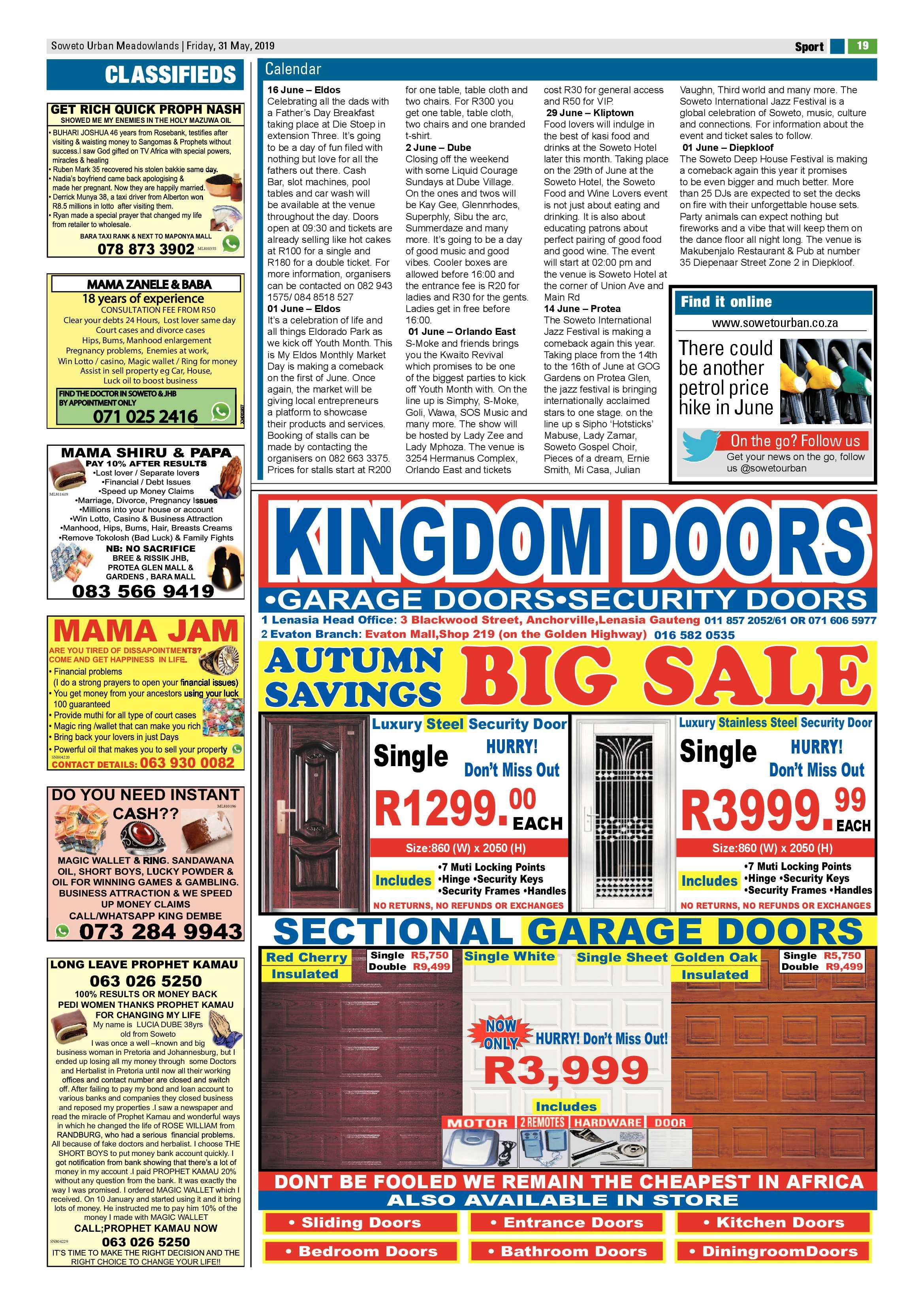 Meadowlands News – May 31, 2019 | Soweto Urban
